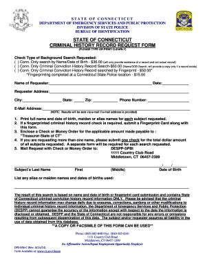 Print Criminal Record Fillable Ct Criminal History Record Request Form Dps 846 C 040414 Doc Ct Fax