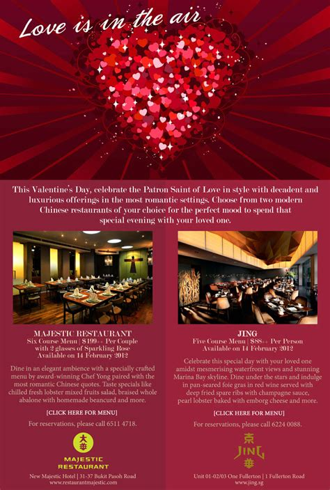 day restaurant promotions jing majestic valentine s day dining promotions menu
