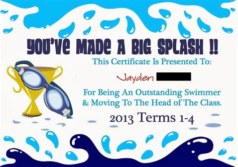 swimming award certificate template swimming certificates aussie pumpkin patch