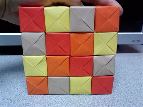 origami moving cubes square formation by