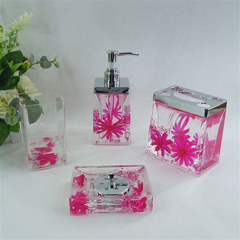 Hot pink bathroom accessories dark pink floral acrylic bath accessory sets h4006 wholesale