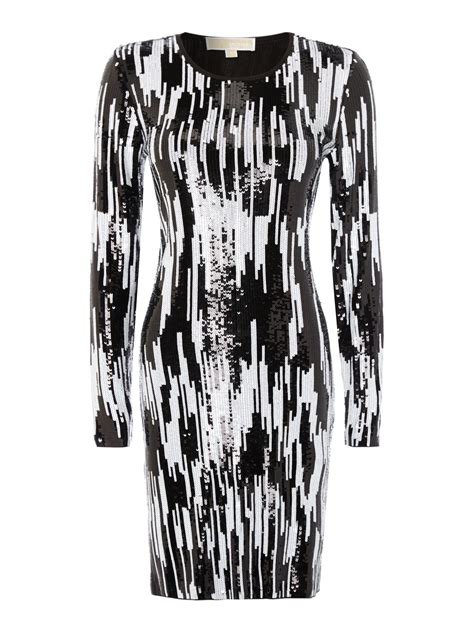 Ikat Pinggang Be014 Black And White Belt lyst michael kors all sequin ikat dress in white