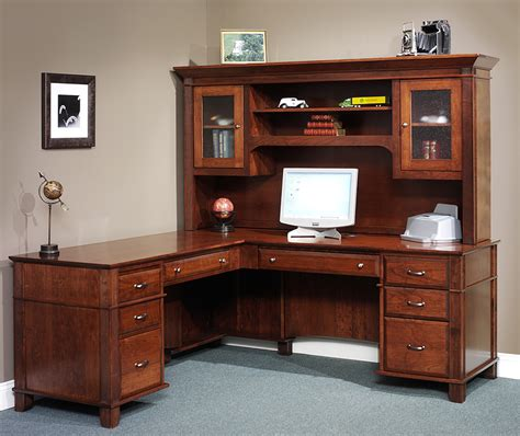 Amish Arlington Executive L Desk With Hutch Top L Desks With Hutch