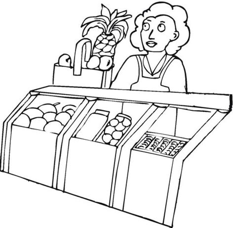 coloring picture of supermarket coloring pages