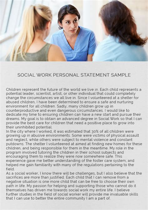 social work personal statement sle social work