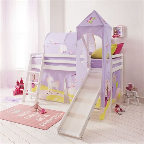 Princess Bed With Slide by Cabin Bed Mid Sleeper Pine Bed With Slide Princess