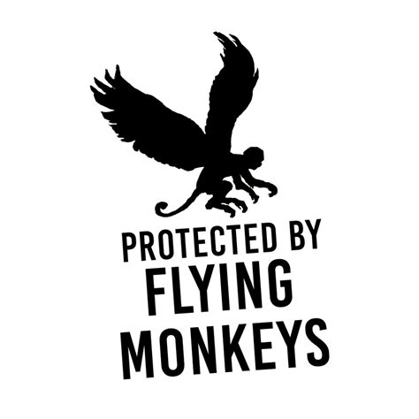 Lime Green Wall Stickers funny protected by flying monkeys vinyl sticker car decal