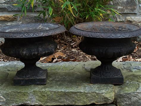 8271 rare small pair of victorian cast iron planters c1880