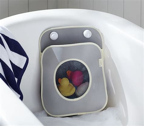 bathroom toys storage gray tubby bath toy organizer pottery barn kids