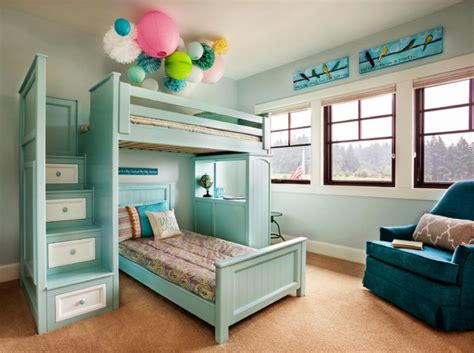 Wooden Bunk Beds With Drawers by Mint Wooden Bunk Bed With Bedding Set Combined With White Drawers On The Stairs Of