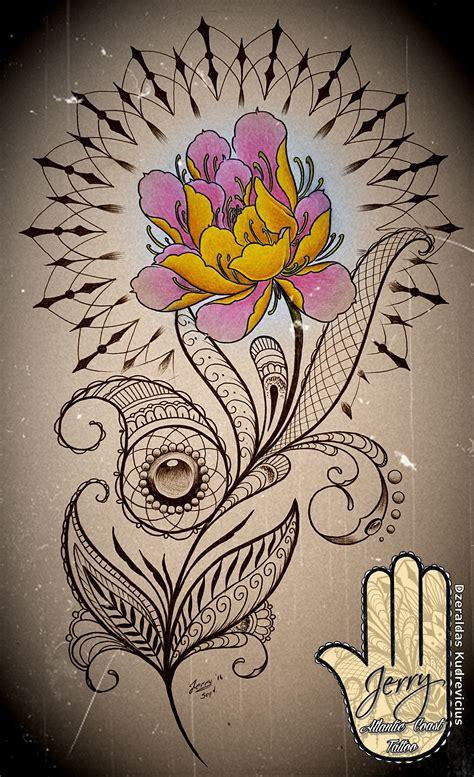 atlantic tattoo lotus flower and mandala idea with mendi and lace