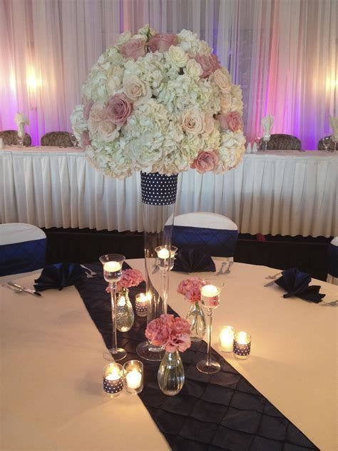 Tall centerpiece, cream blush and pink flowers, navy blush