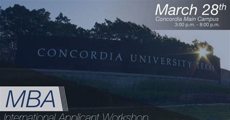 Of Concordia Mba Application by Mba International Applicant Workshop In At Concordia