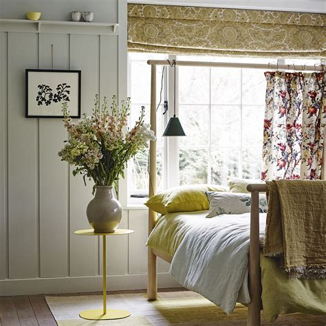 Ikea Bed Curtain Inspiration Country Inspired Bedroom With Yellow Fabrics And Bed Frame Curtain Ideal Home