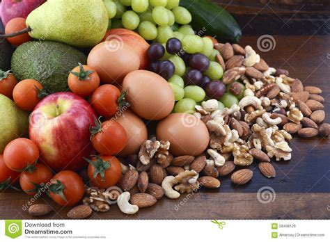 fruit 2 nuts healthy diet with fresh fruit eggs nuts and vegetables