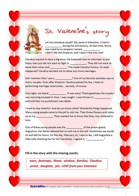 valentines reading comprehension worksheet st s story and s quiz worksheet