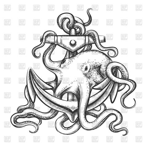 boat and octopus drawing octopus with anchor drawn in tattoo style royalty free