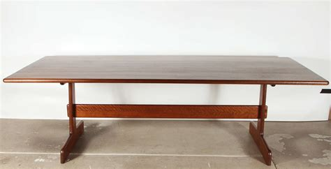 Modern Trestle Dining Table Gerarld Mccabe Custom 8 Trestle Dining Table And Bench For Orange Crate Modern At 1stdibs