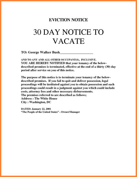 30 day notice to vacate landlord to tenant template 10 30 day notice letter california second notice letter