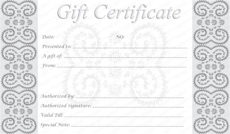 Editable And Printable Silver Swirls Gift Certificate Template Downloadable Gift Card Templates