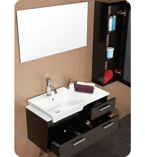 Bathroom Mirror Cabinet Espresso 36 Caro Espresso Modern Bathroom Vanity W Mirrored Side