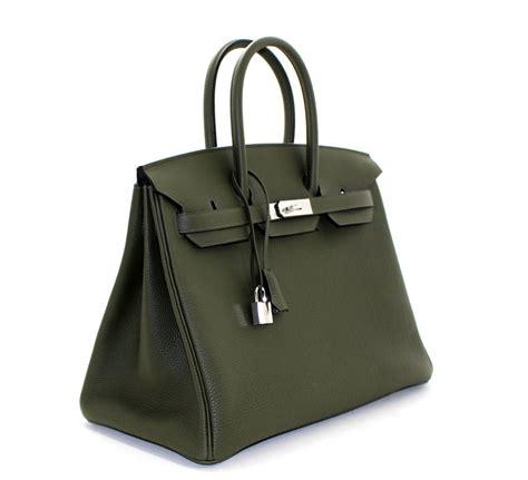 Hermes Leather Bag hermes birkin bag in vert olive green togo leather 35 cm size at 1stdibs