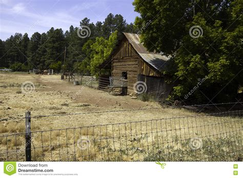 rustic west settler barn and shed stock photo