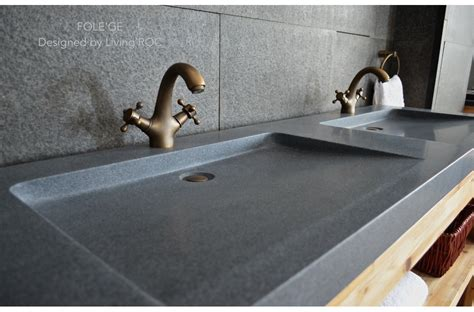 "63"" Trough Sink Gray Granite Double Bathroom Sinks Stone FOLEGE"