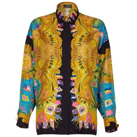 1990s gianni versace couture silk baroque shirt with flag