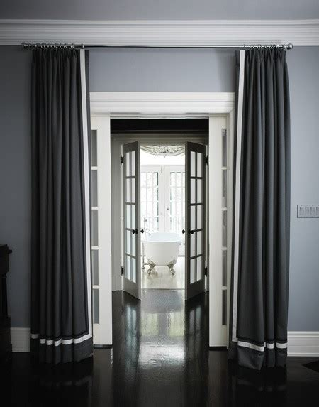 curtains for grey walls ivory drapes with blue grosgrain trim design ideas