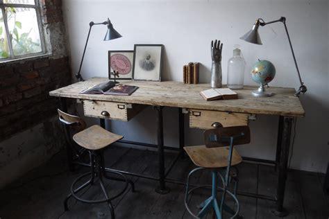bureau industriel poste de travail metal et bois