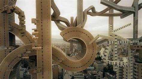 architetture citt visioni riflessioni osaka s skyline transformed into a surreal architectural vision