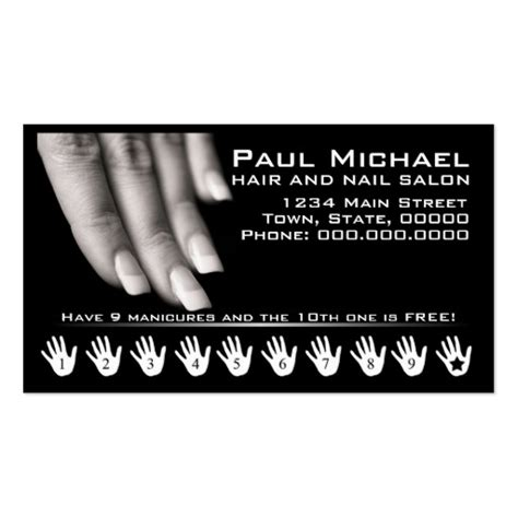 nail salon business card template free customer loyalty cards nail salon sided standard