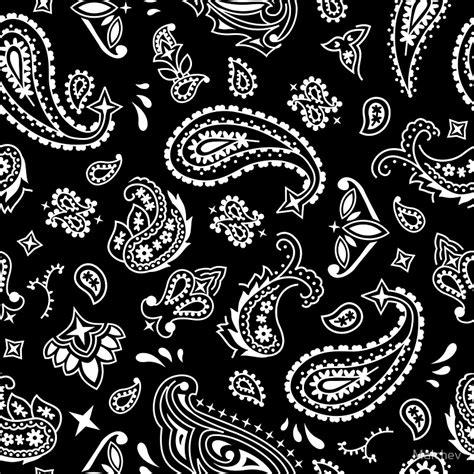 Small Stationary Black Pattern Quot Bandana Seamless Pattern Black Quot Stickers By Malchev