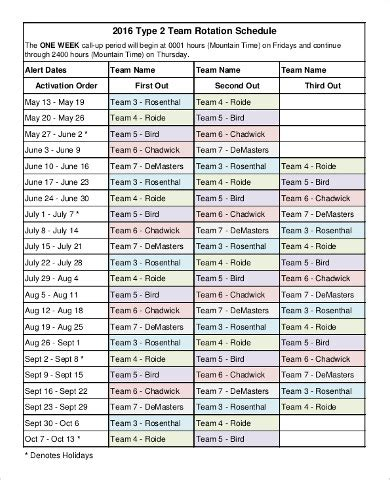Team Schedule Template 9 Free Word Pdf Documents Download Free Premium Templates Rotating Schedule Template