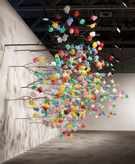 tree plastic pascale marthine tayou grows plastic tree at basel 2015