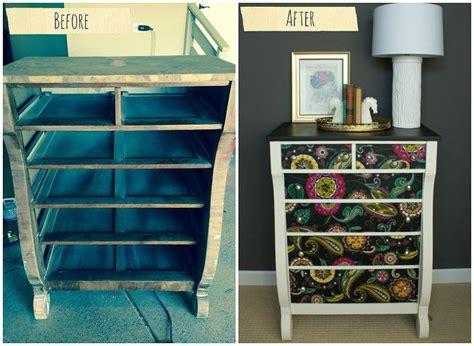 Fabric Decoupage Dresser - dresser makeover using fabric and mod podge hometalk
