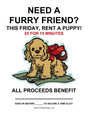 rent a puppy printable rent a puppy fundraiser sign