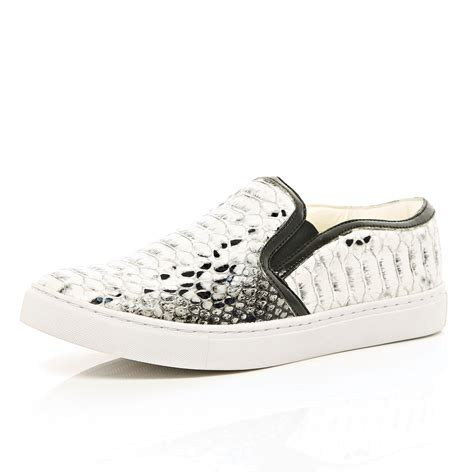 snake print slip on sneakers river island grey snake print slip on sneakers in gray for