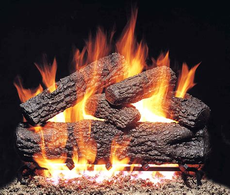 fireplace logs r h peterson pogx4 30 15 30 quot post oak vented gas logs with burner for gas fireplaces