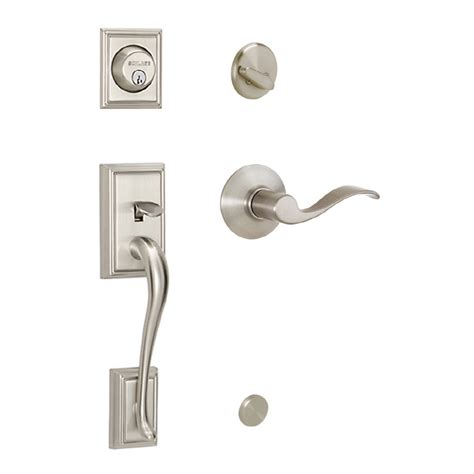 Exterior Door Handlesets Shop Schlage Satin Nickel Single Lock Keyed Entry Door Handleset At Lowes