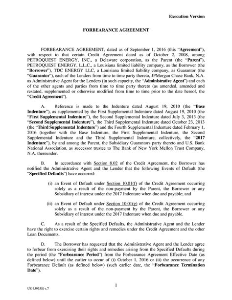 forbearance agreement agreement forbearance agreement with pictures