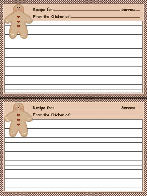 printable recipe stationery 78 images about gingerbread recipe cards on pinterest