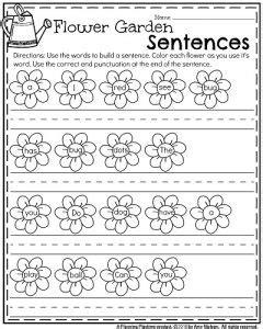 flower pattern worksheet building sentences worksheets kindergarten 1000 ideas