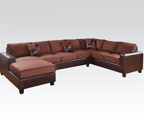 acme sectional sofa acme chocolate reversinle sectional sofa dannis ac56000