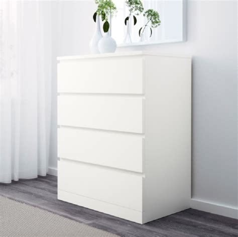 cassettiere malm ikea malm chest of 4 drawers white in auckland nz