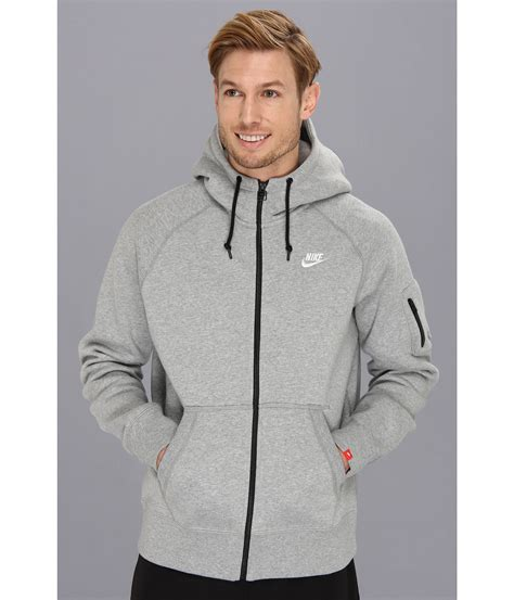 Jaket Sweater Hoodie Zipper Grey Salur 1 lyst nike aw77 fleece fz hoodie in gray for