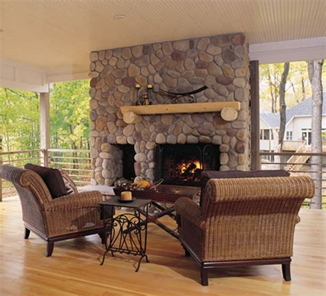 the 25 best river rock fireplaces ideas on