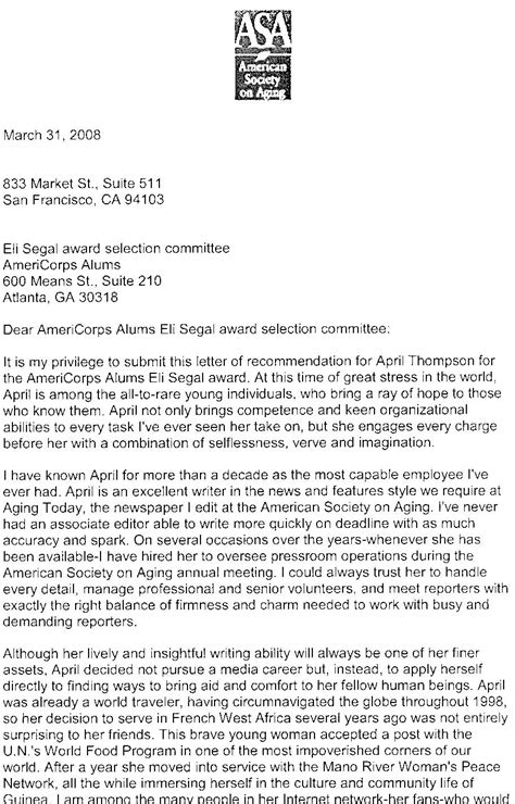Exle Of Letter Of Endorsement For Award 2008 Eli Segal Award Finalists Americorps Alums
