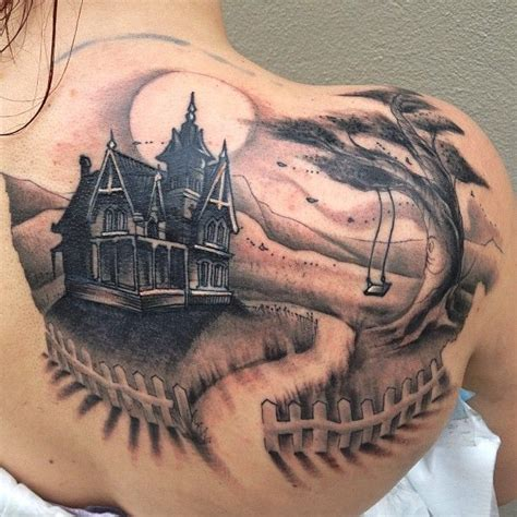 haunted mansion tattoo haunted house tattoos piercings haunted